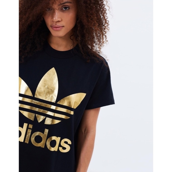 294513a25bb adidas Tops | Womens Big Trefoil Tee Black Gold | Poshmark